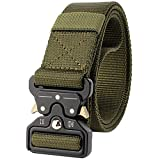 Cinturón táctico para Hombres, Cinturón de Cintura para Trabajos Pesados tácticos, Militar de liberación rápida Cinturones de Nylon Hebilla de Metal,Ejercito Verde,L*W:49 Pulgadas*1.57 Pulgadas