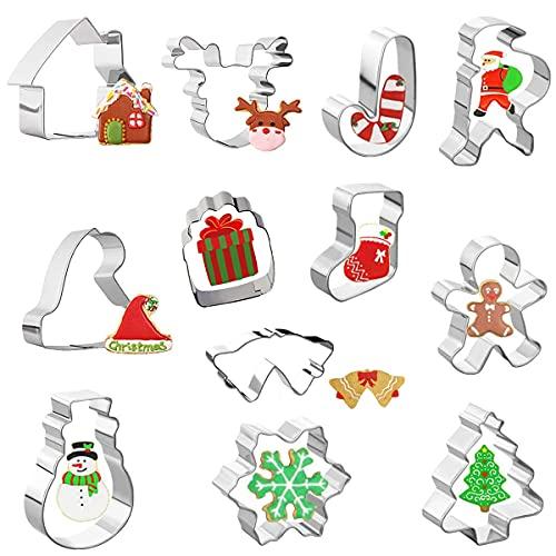 SUNSK Natale Set di Formine per Biscotti Christmas Stampi Biscotti Taglierine del Biscotto in Acciaio Inossidabile per Decorazioni in Fondente di Dolci di Pasticceria 12 Pezzi