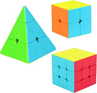 Aitbay Speed Cube Set, Magic Cube Bundle 2x2 3x3 Pyramid Stickerless Cube Puzzle Toys Gift for Kids and Adults (3 Pack)