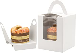 White Cupcake Box Clear Display Window with Handle and Insert Individual Cupcake Box Single Cupcake To Go Container Gift Containers for Party Favors (50, White)