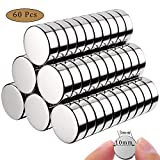 MEIXI Neodym Magnete, 60 Stück Rund Magnets 10x3mm Mini Magneten für Magnettafel, Whiteboard,...