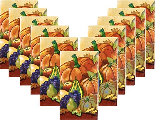 Thanksgiving Fall Paper Dinner Napkin Set Reversible - 40 Total Guest Towels - Cornucopia Cracks