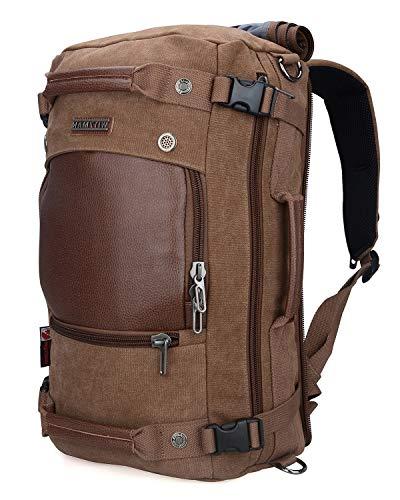 WITZMAN Canvas Backpack Travel Rucksack Backpack Vintage Duffel Bag Laptop Bag Casual Daypack A2020 (Brown)