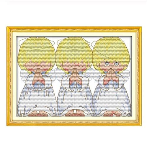Mrjg Solar 30 * 25cm Handarbeiten DMC Set Vollstickpackung Der Stickpackung Perfekt 3 Kleiner Engel Wand-Dekor-Lackierung gartenbeleuchtung