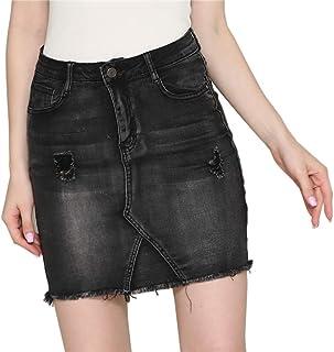 idealister Women's High Waist Vintage Casual Stretch Slim Pencil Denim Skirt Short Mini Jean Skirt