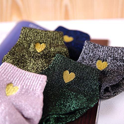 Socke 5 Paar Stickerei Gold Herz Liebe Glitzer Socken Frauen Mode Silber Gold Seide Bunt Glänzende Socken