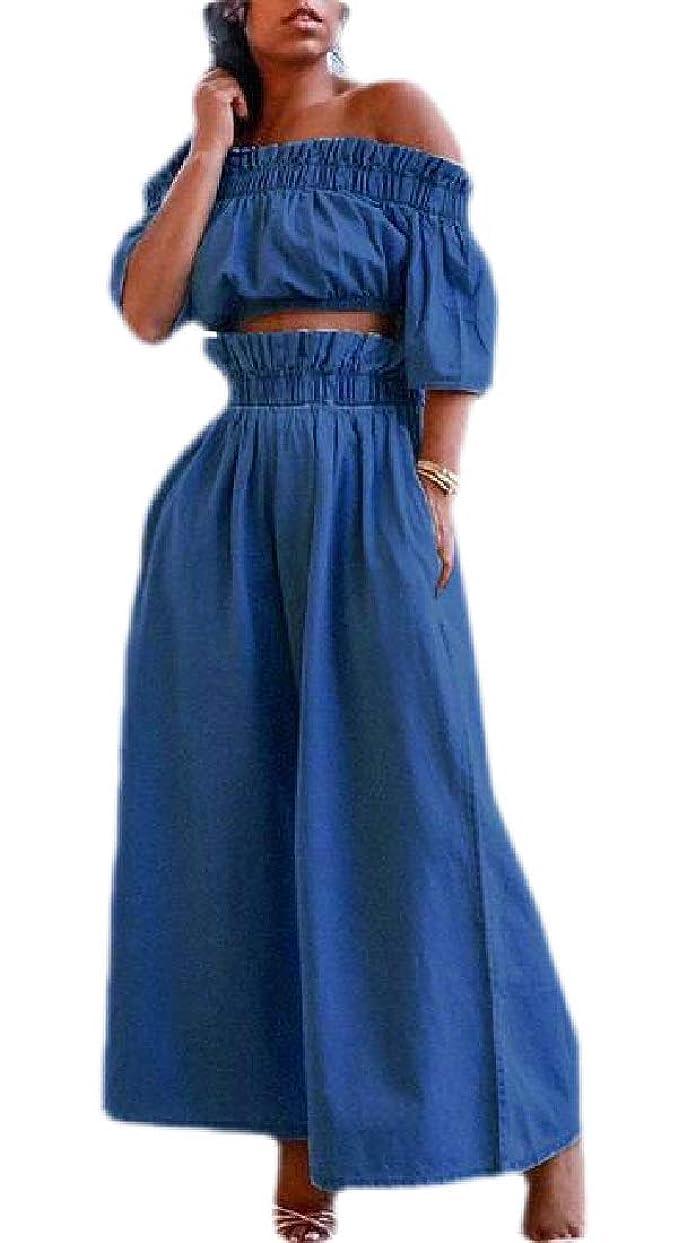 海軍ペース王朝Womens Summer Off Shoulder Crop Top Washed Wide Leg Pants 2 Piece Set