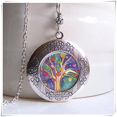 Collar de camafeo, árbol de la vida, joyas, colgante artístico cúpula de cristal joyas, puro hecho a mano