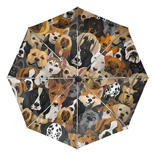 Kompakter Reise-Regenschirm, Hunde-Motiv, faltbar, wendbar, winddicht, verstärkter Schirm, UV-Schutz, ergonomischer Griff, automatisches Öffnen/Schließen