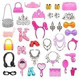 Miunana 40 Piezas Conjunto Completo de Accesorios Fashion Bolso Gafas de Sol Zapatos Collar Accesorios de Joyería Selección Aleatoria para Regalo 11.5 Pulgadas 28 -30 CM Muñeca