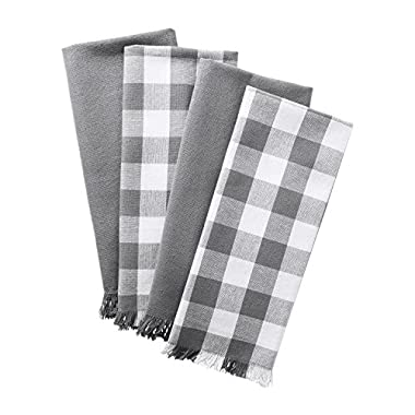 DII Woven Heavyweight Cotton Dish Towels with Decorative Fringe, Absorbent Dishtowels for Drying and Cleaning Kitchen Dishes or Countertops (18x28, Assorted Assorted Set of 4) Gray Checker