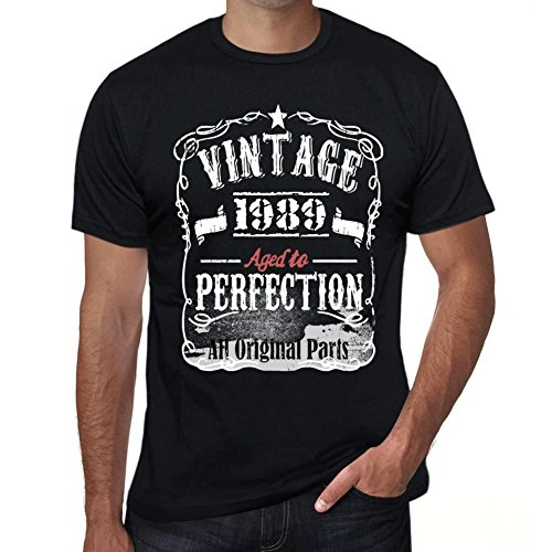 One in the City 1989 Vintage Aged to Perfection Hombre Camiseta Negro Regalo De Cumpleaños