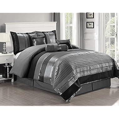 7 Piece Oversize Grey / Black silver stripe Chenille Comforter set 106  X 94  California King Size Bedding