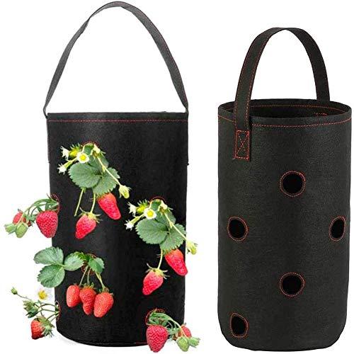 WANGIRL Crecer Bolsa para Plantar Fresas de 3 Galones para Cultivo de Patatas Flores Verduras Exteriores Vertical para Colgar en el Jardín Pesado