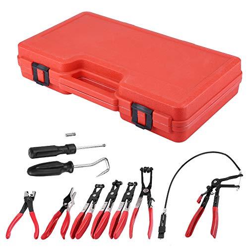 AYNEFY Juego de alicates de clip, maletín de herramientas, 9 unidades, abrazadera flexible para manguera, juego de mordazas giratorias, cinta en ángulo plana, herramientas automotriz