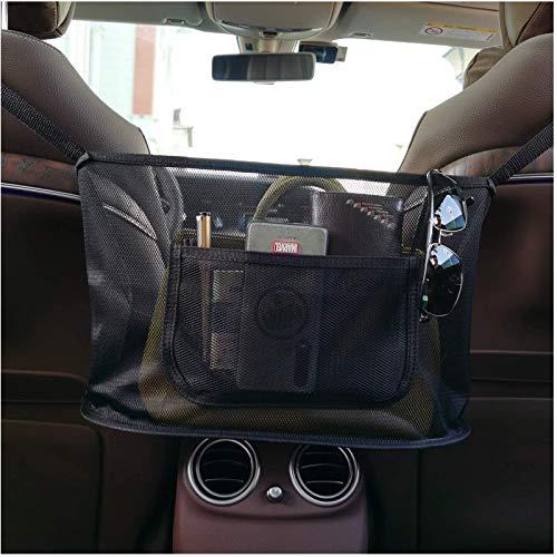 Car Net Pocket Handbag Holder, Car Seat Back Organizer Mesh Large Capacity Bag for Purse Storage Phone Documents Pocket,Barrier of Backseat Pet Kids,Cargo Tissue Holder