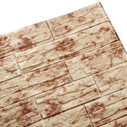 WANWEITONG 3D Papel Pintado ladrillo, PE de Espuma de 3D Wallpaper, DIY Pared Pegatinas Decoración de Pared en Relieve Piedra de ladrillo Para Casa Oficina (1 Pc, Piedra roja)