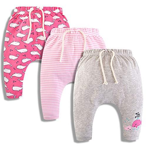 CuteOn 3 Pacco Unisex Bambini Bambino Piccolo Harem Pantaloni Cotone Elastico Trousers 17 Balena Rosa 36 Mesi