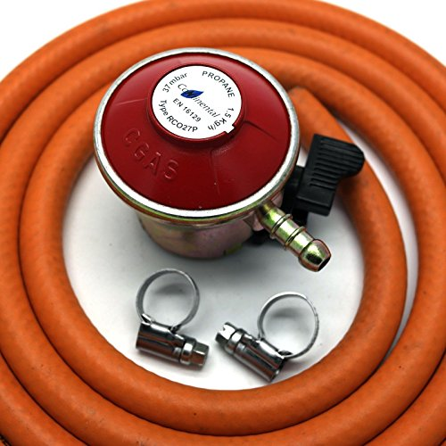 Patio Gas Regulator 27Mm Clip On With 2M Hose + 2 Mikalor Stainless Band Hose Clips Fits Calor/Flogas