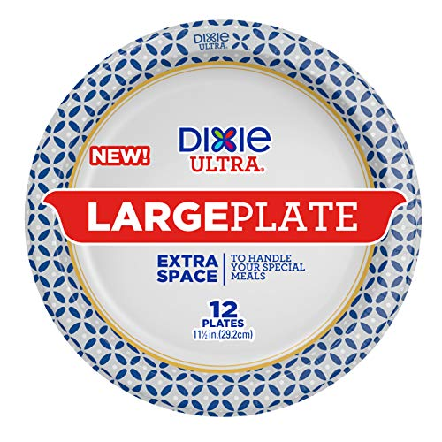 Dixie Ultra Large Plates, 11 ½ in., 12 Count, Disposable Plates For Heavy Messy Meals