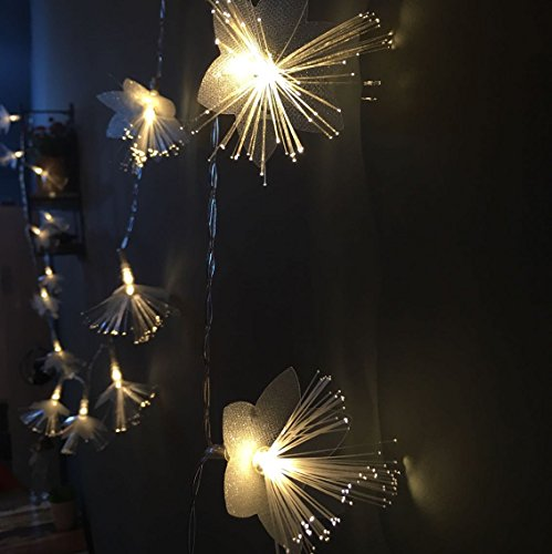 KABSJ mood light Mise en Page de Chevet LED Feux de Chambre à Coucher, Festival Lumière Fibre Optique exploité Batteries Chambres d'arbres des lumières décoratives,3 mètres et 20 Lumières
