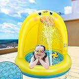 LETOMY Splash Pool, Kleine Gelbe Ente Planschbecken Wassersprühspielzeug für Sommergarten-Partys im Freien, Sprinkler Pool Mit Sonnenschutz