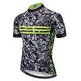 weimostar Maillots de ciclismo para hombre, transpirables, para ciclismo, senderismo, correr, ropa deportiva, camuflaje y verde fluorescente XL