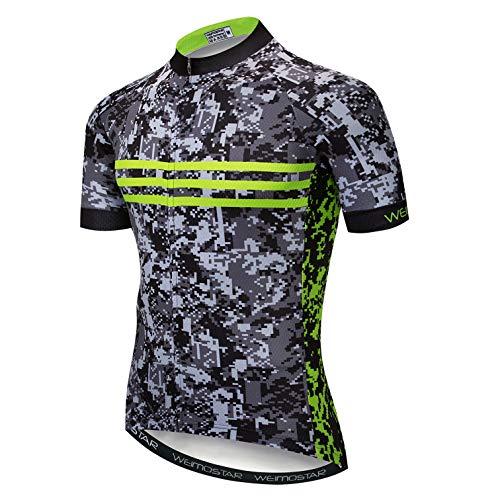Weimostar Radtrikots für Männer Atmungsaktive Fahrradoberteile Wandern Laufen Sportswear Camouflage und Fluoreszierendes Grün L