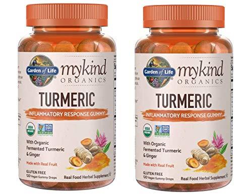 MyKind Organics Turmeric Inflammatory Response Gummy with Organic, Fermented Turmeric, Ginger and Real Fruit (120 Vegan Gummy Drops) Pack of 2