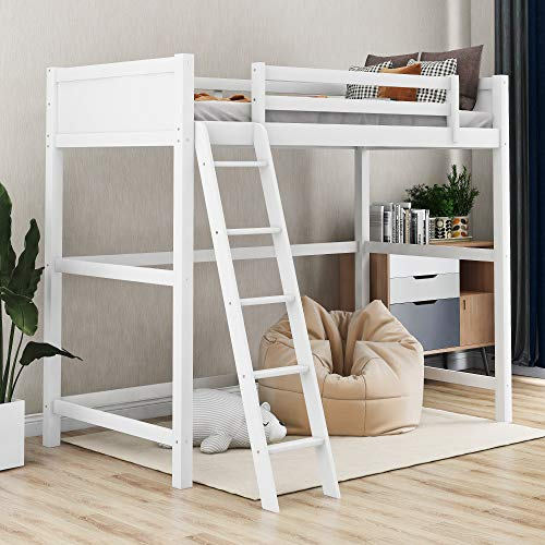 Harper&Bright Designs Solid Wood Loft Bed,Side Angled Ladder (White)