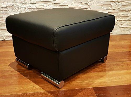 Quattro Meble Schwarz Echtleder Hocker aufklappbar mit Stauraum Sitzhocker Rindsleder Sitzwürfel 60x55 Fußhocker Polsterhocker Echt Leder Puff