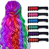 Hair Chalk For Girls Washable Bright Mini Hair Chalk Combs Temporary Hair Color for Age 4 5 6 7 8 9 10 Festival Party Cosplay Dress up Halloween, Christmas New Years Birthday for Girls 6 Color