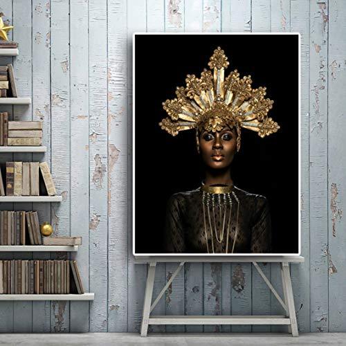 Danjiao Mujeres Africanas Negras Corona Dorada Impresión Impermeable Lienzo Pintura Arte De La Pared Carteles E Impresión Decoración Del Jardín París Cocina Sala De Estar Decor 60x90cm
