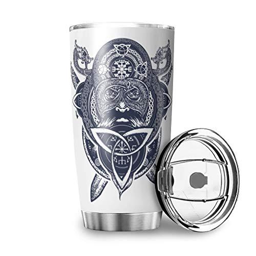 Fanaxii - Taza térmica de acero inoxidable con diseño de runas de Odin de Vikingo, a prueba de fugas, con doble pared de aislamiento, con tapa, para viajes, fitness o coche, blanco, 600 ml