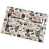Atún Sushi PlaceSet de 6, manteles individuales lavables antideslizantes resistentes al calor PlaceStain, 12x18in