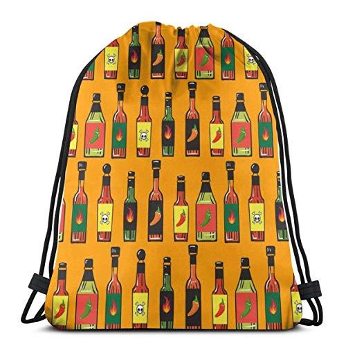 MAY-XCustom Drawstring Bag,Nahtloses Muster Der Heißen Soßenflaschen Drawstring-Einkaufstasche, Langlebige Faltbare Cinch-Taschen Für Das Klettern Beim Reisen