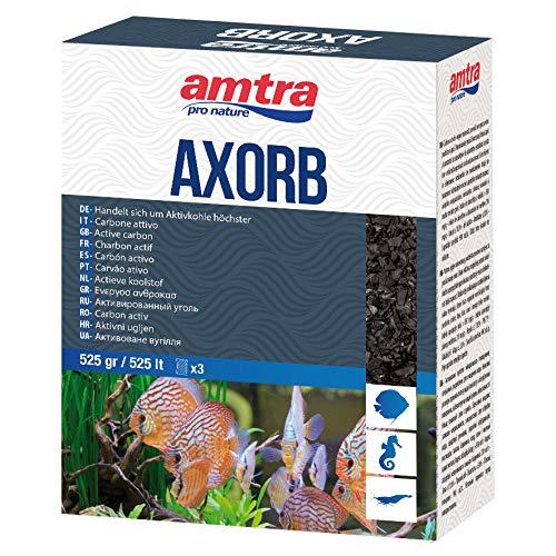 Amtra AXORB - Carbone Attivo di Origine Minerale per acquari, Acqua cristallina, previene Gli odori, Formato 525 gr