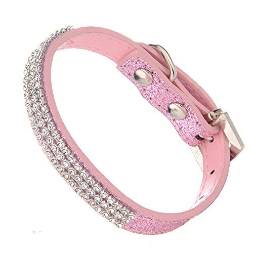 LOVPE Hond Kraag, Glitter Poeder Leder+Bling Crystal huisdier kraag, [Verstelbare halsbanden voor honden], S, roze