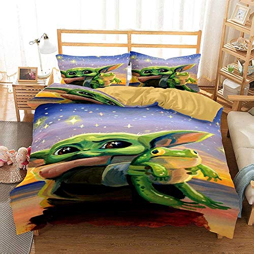 Duvet Cover Super King Size 260 x 240 cm Bedding set Microfiber 3 pieces with 2 Pillowcases 50 x 90 cm with Zipper Baby Yoda printing Duvet Cover set