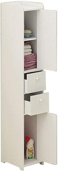 Floor Locker Freestanding Locker Waterproof Bathroom Cabinet Kitchen Multi Function Storage Rack Color White Size 2520118cm