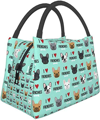 Frenchie Dog I Love French Bulldogs Frenchie Face Aqua Insulated Lunch Bags for Large Lunch Box Portable Thermal Cooler Bag Waterproof Lunch Tote Meal Prep Organizer Lunch Pail for Beach/Boating