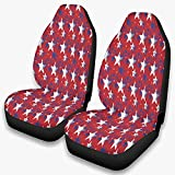 Cubiertas de asiento reutilizables elásticas para coche, diseño de estrellas de la bandera americana, ajuste universal, color blanco