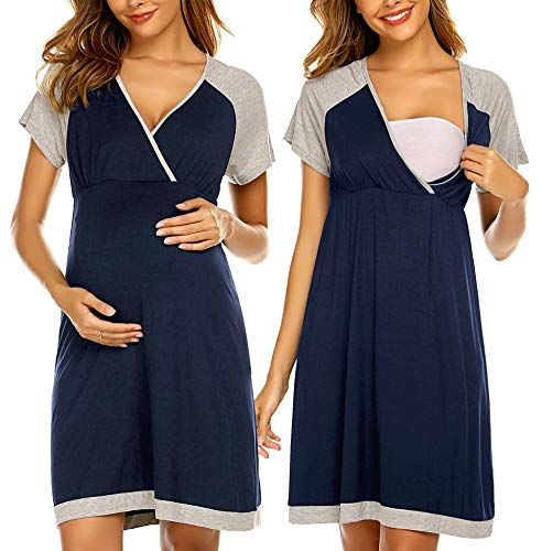 Ekouaer Women's Maternity Dress Nursing Nightgown for Breastfeeding Nightshirt Sleepwear (Navy Blue L)