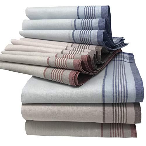 JEMIDI stoffen zakdoeken heren en dames, katoen, 12 stuks per verpakking, van 100% katoen, handdoeken, stoffen zakdoek in verschillende designs