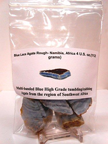 Rock Tumbler Gem Refill Kit - Namibia, Africa Blue Lace Agate Rough, Bold Banding, 4 oz