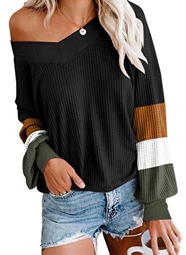 Odosalii Pullover Damen Sexy V Ausschnitt Schulterfreier Oberteile Oversize Hembluse Lose Longshirt Casual Sweatshirt, Schwarz-Patchwork, XL