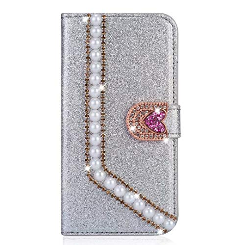 Samsung Galaxy A21s Phone Case, Bling Gems Peals Diamond PU Leather Flip Wallet Cases Sparkly Crystal Rhinestone Cover with Magnetic Flower Buckle Card Slot Stand for Samsung Galaxy A21s Silver