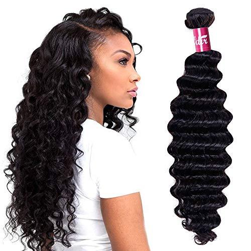 Odir Brazilian Deep Wave Human Hair 1 Bundle (30 Inch) 9A Unprocessed Brazilian Virgin Human Hair Deep Curly Weave Bundles Natural Color