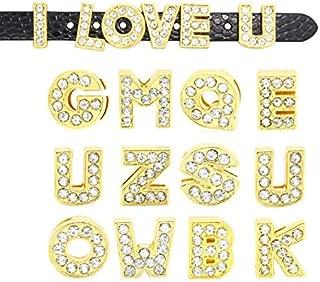 Pack of 130pcs A-Z Full Rhinestones 8mm Golden Color Slide Alphabet Letters for 8mm Slide Wristbands/Bracelets,Jewelry Making Charms