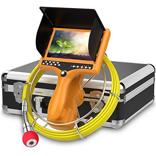 Sewer Camera with Distance Counter and DVR, Pipe Inspection Camera Video System IP68 Waterproof Plumbing Snake Drain Sewer Cam Drain Duct Pipe Camera 7'TFT Monitor 30M/100ft(8GB SD Card Include)